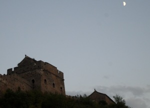 The moon rises above us as we leave Jinshanling at sundown.