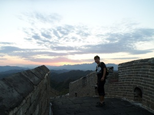 With the sun set, my guide Aaron Zhang is ready to push on to our camp in Gubeikou.