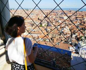 Zenita Nilsson in Venice bell tower.