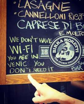 Venice has no wifi.