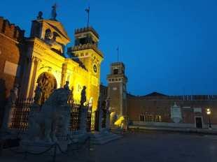 Venice arsenal in Castello at night.
