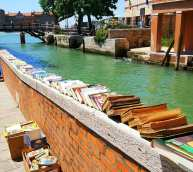 Venice books by the canal.