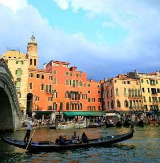 Venice by Realto Bridge on the Grand Canal.