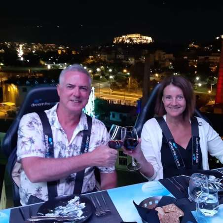 Zenita Nilsson and Rob at Dinner in the Sky.